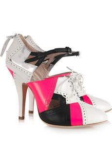 MIU MIU Cutout leather lace up heels