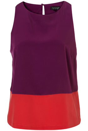 PURPLE COLOUR BLOCK SHELL TOP von topshop
