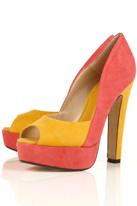 COLOUR BLOCK PLATFORM PEEP TOE