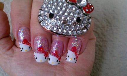 glitzer Hello Kitty Nägel