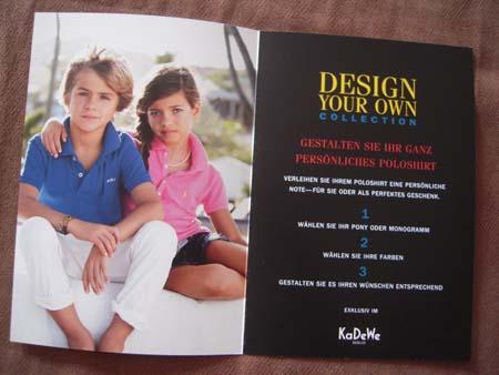 Ralph Lauren Design Your Own Collection im KaDeWe