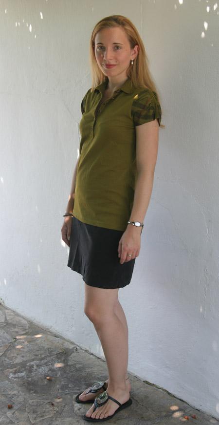 Tagesoutfit grünes Shirt