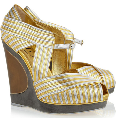 YVES SAINT LAURENT Maggy metallic leather wedges