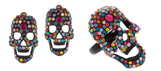 ASOS Ring Ohrringe mit Totenkopf aus Discokugeln