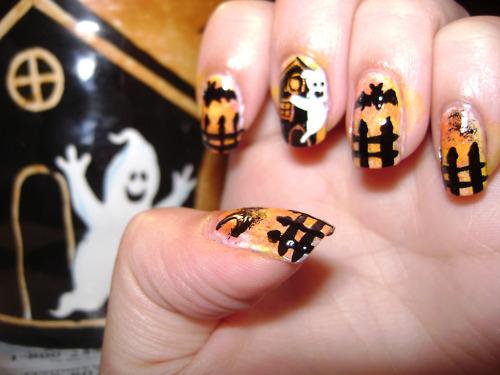 gruselige Halloween Nägel Design Kunst Fingernägel 11