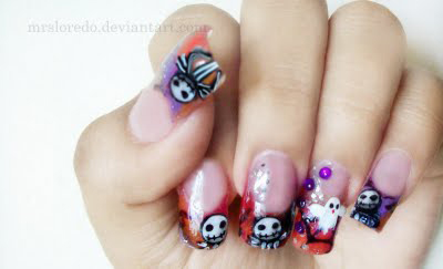 gruselige Halloween Nägel Design Kunst Fingernägel 18