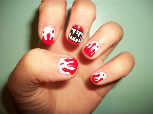 gruselige Halloween Nägel Design Kunst Fingernägel 2