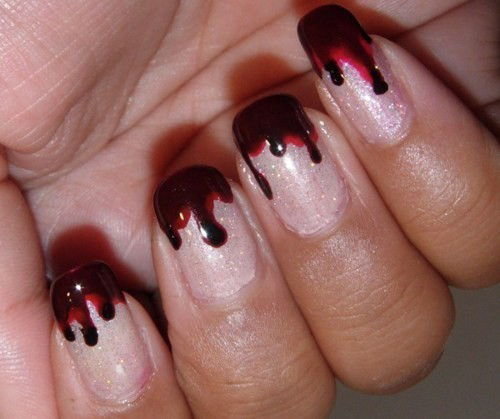 gruselige Halloween Nägel Design Kunst Fingernägel 4