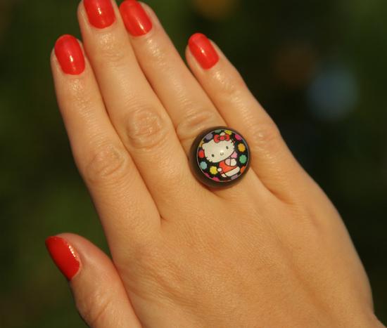 Hello Kitty Ring von Chupa Chups schwarz