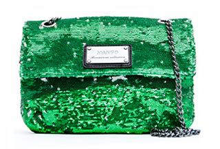 Pailletten Tasche von Mango in grün