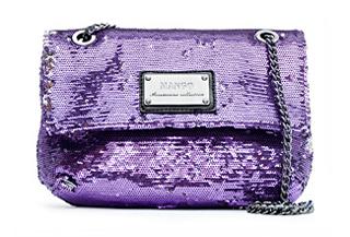 Pailletten Tasche von Mango in purpurrot