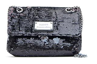 Pailletten Tasche von Mango in schwarz