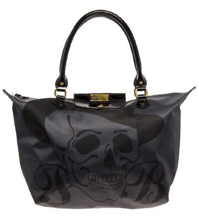Paul s Boutique Betty Schwarze Shopper Tasche mit Totenkopfaufdruck und Reißverschluss