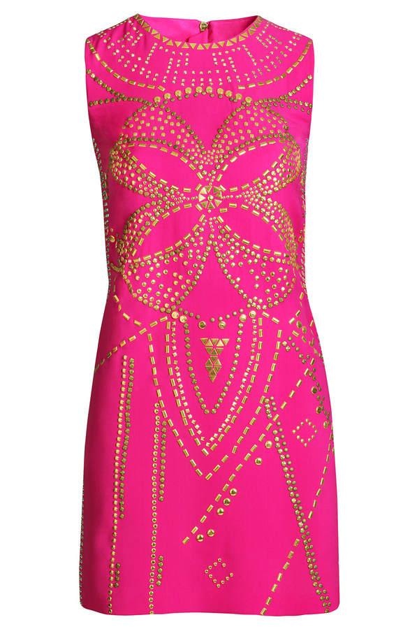 Versace for H&M Pinkfarbenes Seidenkleid mit Nietenverzierung