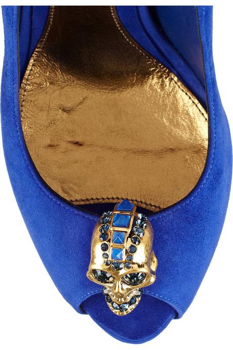 blaue Totenkopf Wildleder-Peep Toe von Alexander McQueen 2