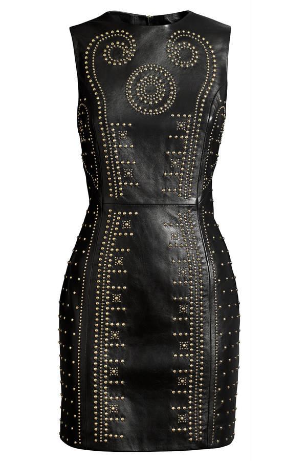 Versace for H&M ärmelloses Lederkleid mit Nieten