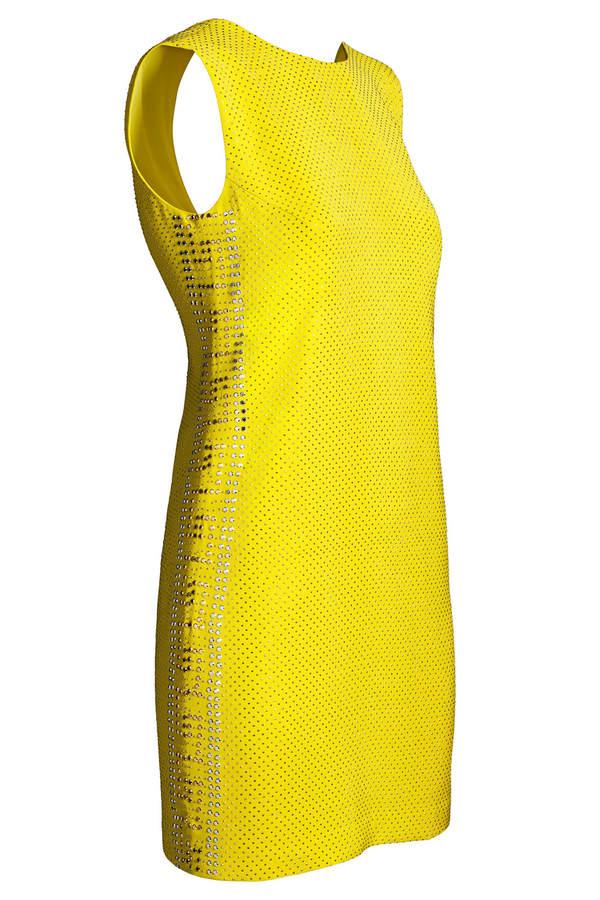 Versace for H&M gelbes Seidenkleid mit Nietenverzeierung