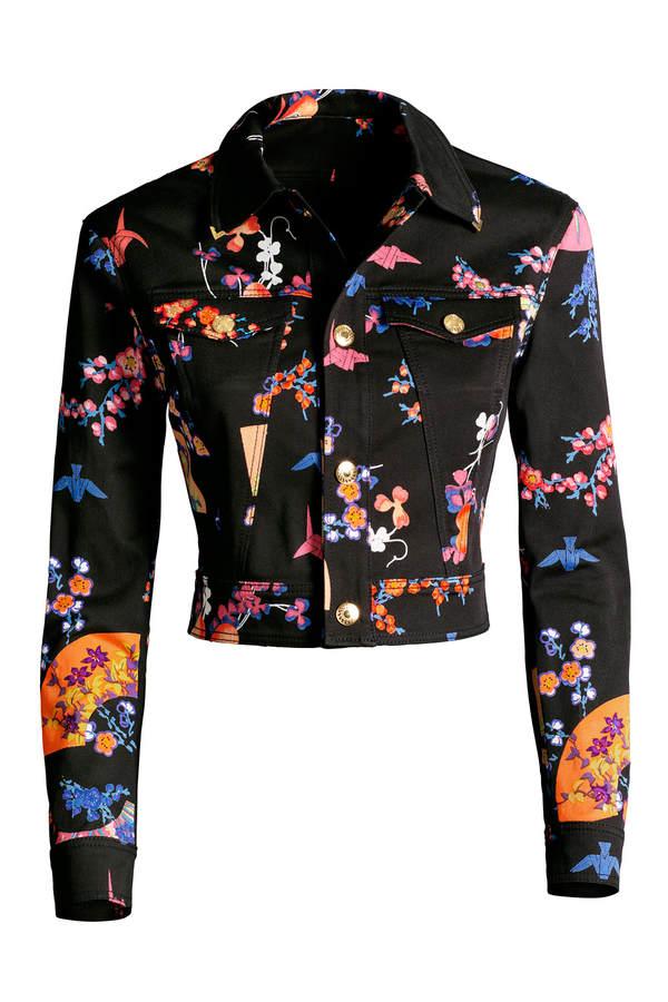 Versace for H&M Kurze Jeansjacke mit Blütenmuster