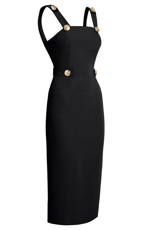 Versace for H&M schwarzes Trägerkleid mit Taillenriegeln