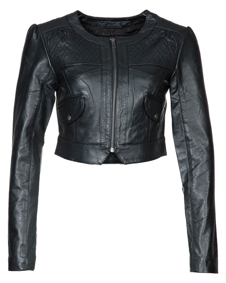 Vila Clothes VIVIAN BOLERO schwarze Lederjacke