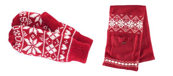 H&M Schal und Fäustlinge rot