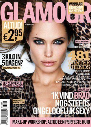 Cover Angelina Jolie Glamour Magazine Netherlands Februar 2011