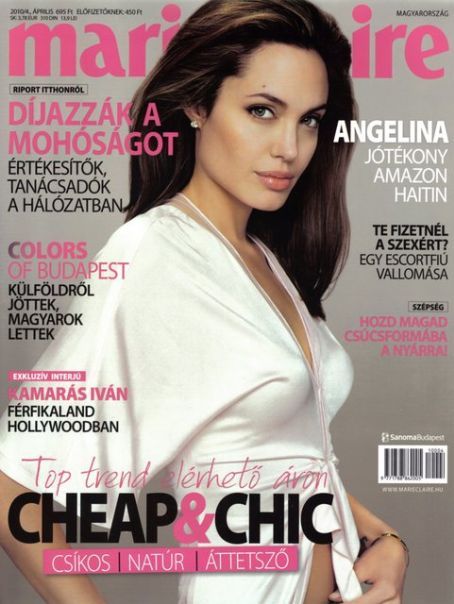 Cover Angelina Jolie Marie Claire Magazine Hungary April 2010