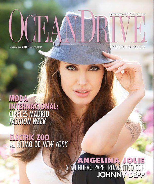 Cover Angelina Jolie Ocean Drive Magazine Puerto Rico Dezember 2010