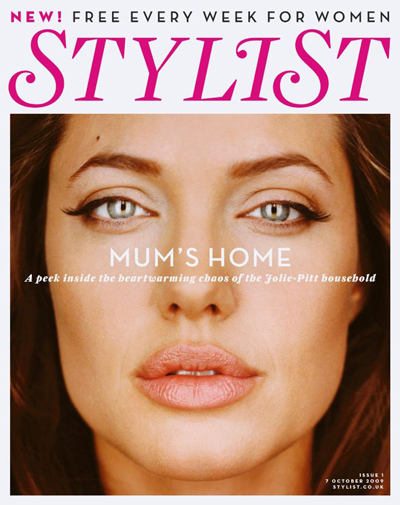 Cover Angelina Jolie Stylist Magazine United Kingdom Oktober 2009