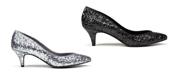 Flache Glitzerpumps von Zara, 39,95 Euro