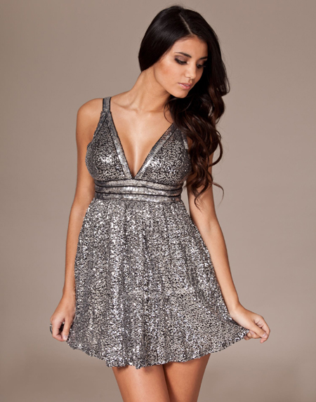 NELLY CUSHH SILVER SPARKLING DRESS