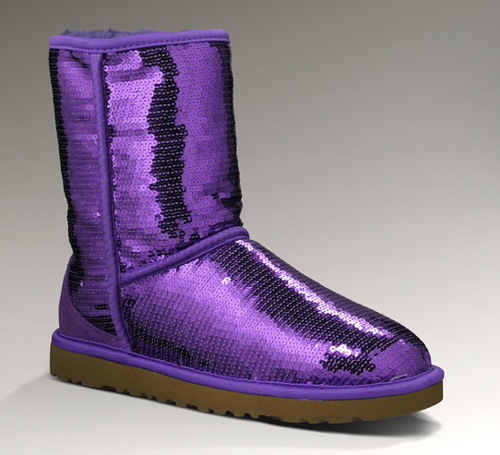 UGG WOMENS CLASSIC SHORT SPARKLES PASSION PURPLE
