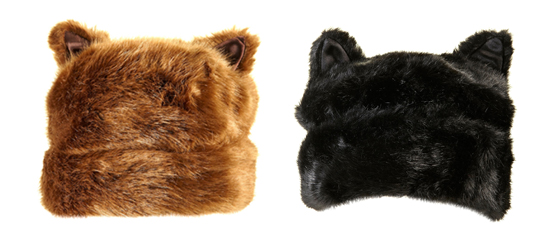 Kunstfellmütze mit Katzenöhrchen von Topshop