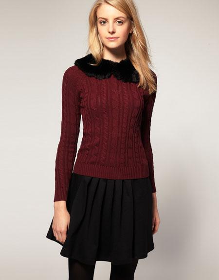 ASOS – Pullover mit abnehmbarem Kunstpelzkragen
