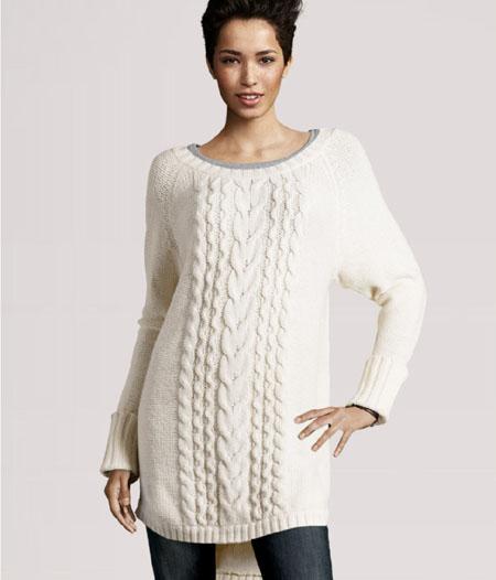 H&M Langer Pullover mit Zopfstrickmuster