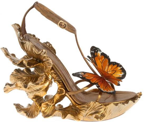 Alexander McQueen Schmetterlingsschuhe gold