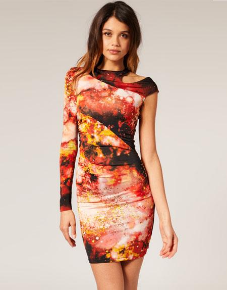ASOS Figurbetontes Kleid mit digitalem Weltraum-Motiv