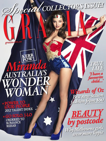 Cover Grazia Australien Miranda Kerr als Wonder Woman 1