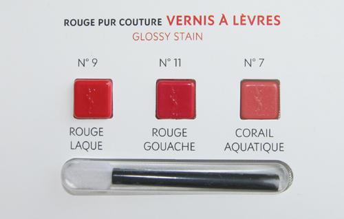Farben der YSL Probe Rouge Pur Couture Vernis à Lèvres 1