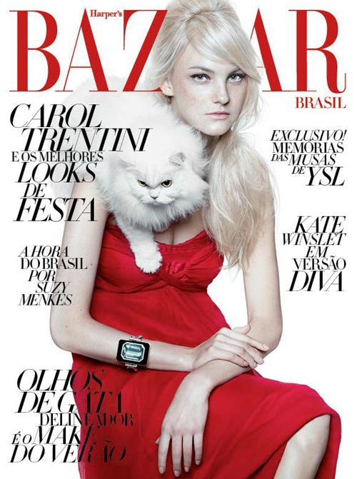 Harpers Bazaar Brazil Dezember 2011 Cover Caroline Trentini by Gui Paganini