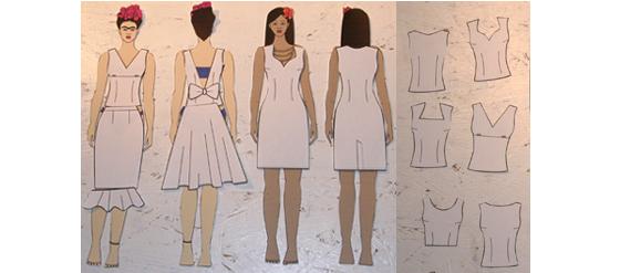Einzelteile von technischen Zeichnungen zum zusammenstellen des Kleides