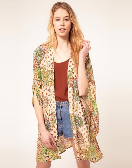 Mimosa – Bedrucktes Kimono-Oberteil aus Seide, 89,66 Euro
