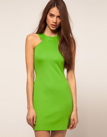 Rare Neonfarbenes Kleid mit hohem Halsausschnitt von ASOS