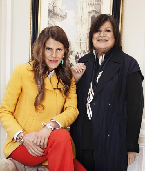Anna Dello Russo mit H&M-Designchefin Margareta van den Bosch
