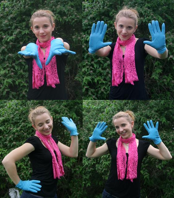 Meine neuen blauen Lederhandschuhe