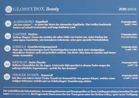 Glossy Box Beauty Juni 2012