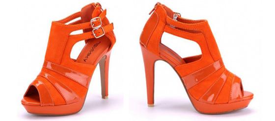 Orangefarbene High Heels von Schuhtempel24.de