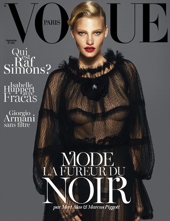 Vogue Cover Frankreich September 2012 mit Lara Stone
