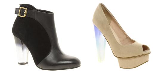Schuhe mit Acryl- oder Plexiglas-Absatz