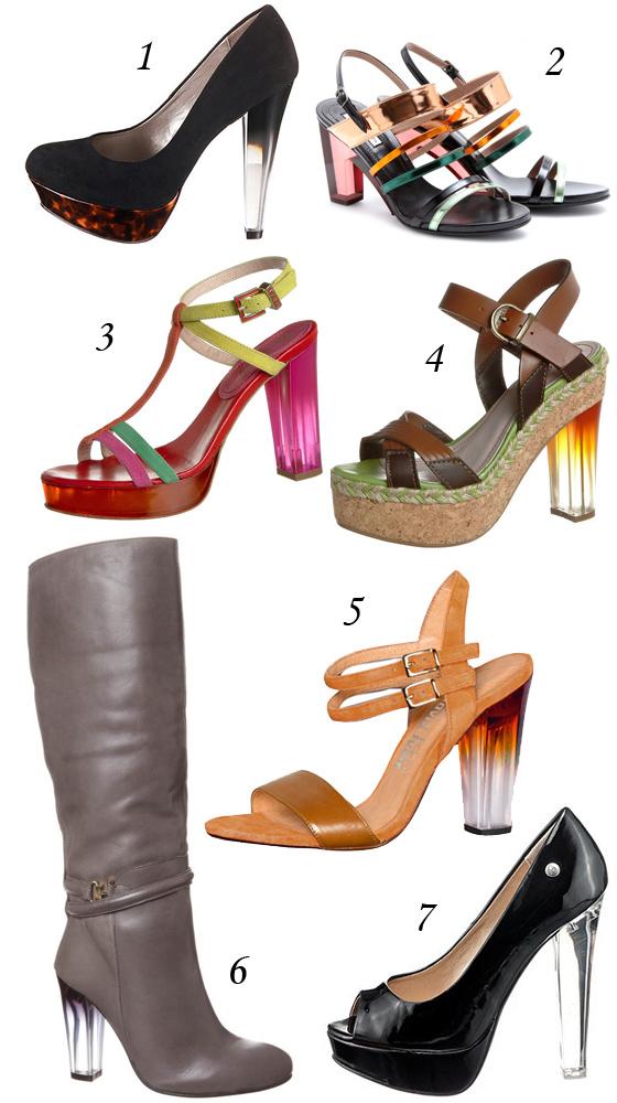 Schuhe mit durchsichtigem Acryl- oder Plexiglas-Absatz